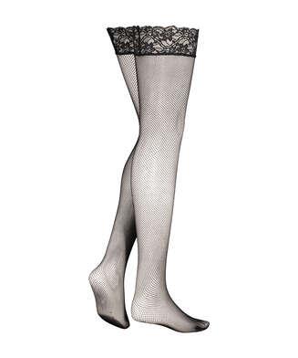 Lace Top Fishnet Stockings, Black