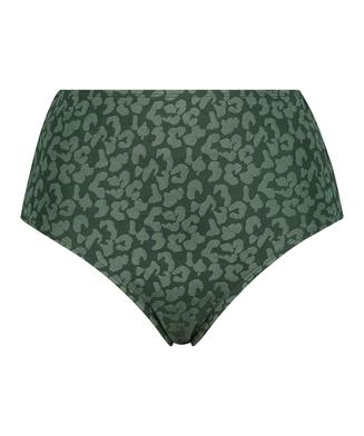 Tonal Leo high-cut bikini bottoms, Green