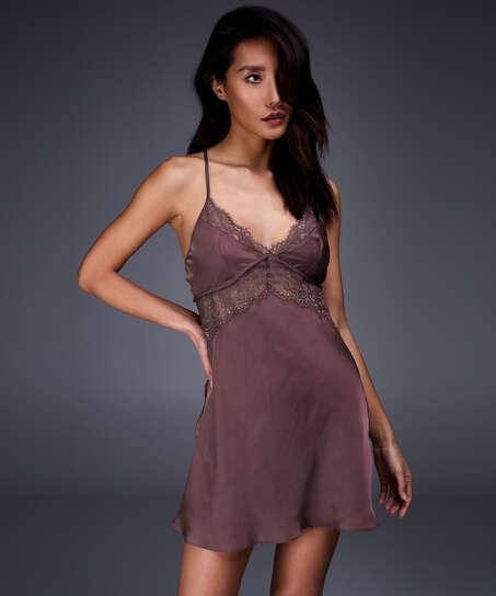 Satin Honey Slip Dress, Pink