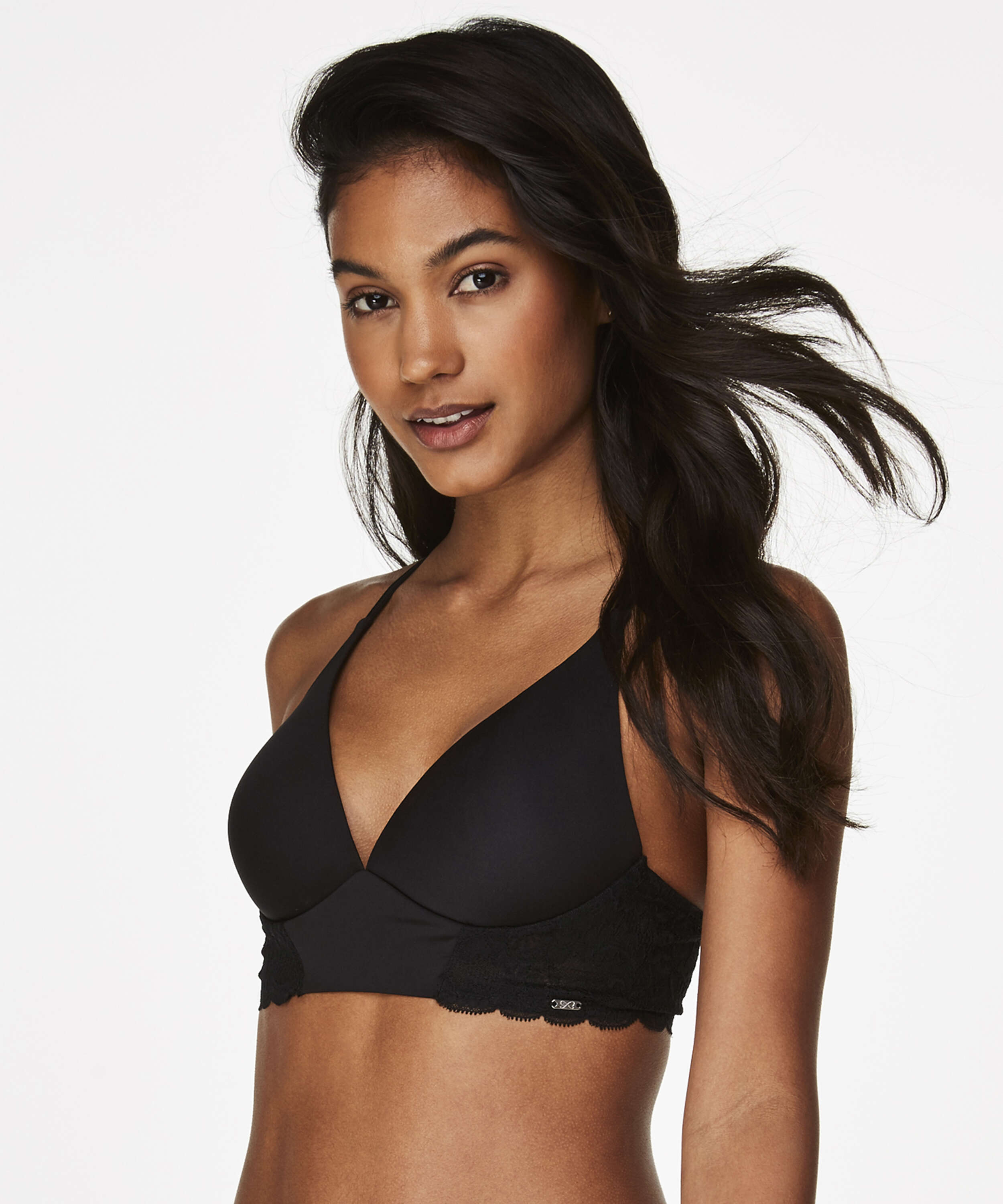 Hope Lace Padded Non-Underwired Bra, Black, main