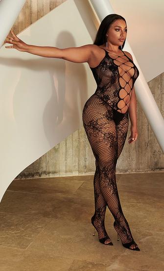 Private Open Lace Catsuit, Black