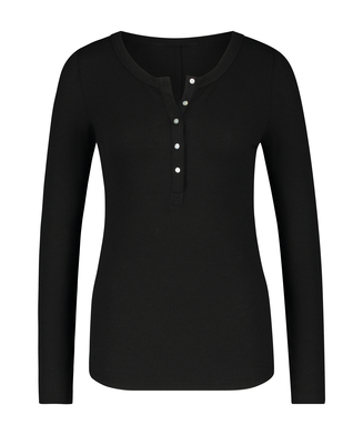 Long-Sleeved Pyjama Top , Black