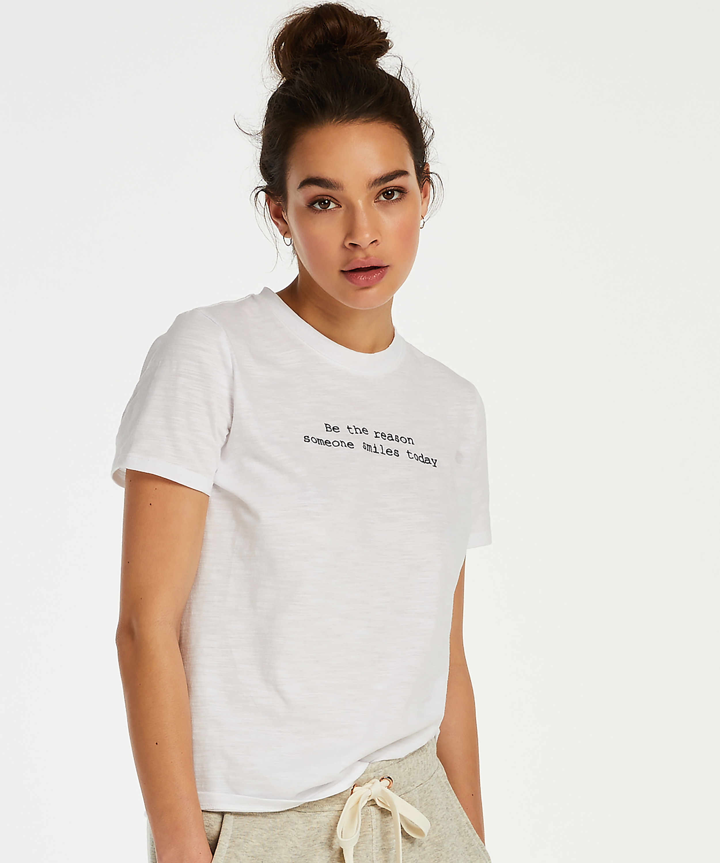 Jersey pyjama top short sleeves, White, main