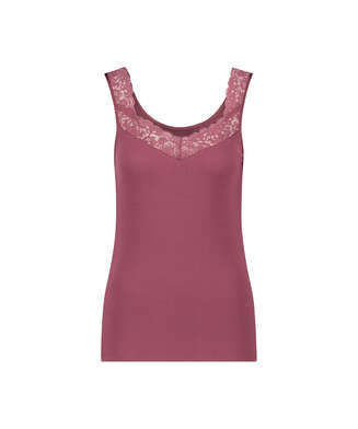 Ribbed Lace Singlet, Red