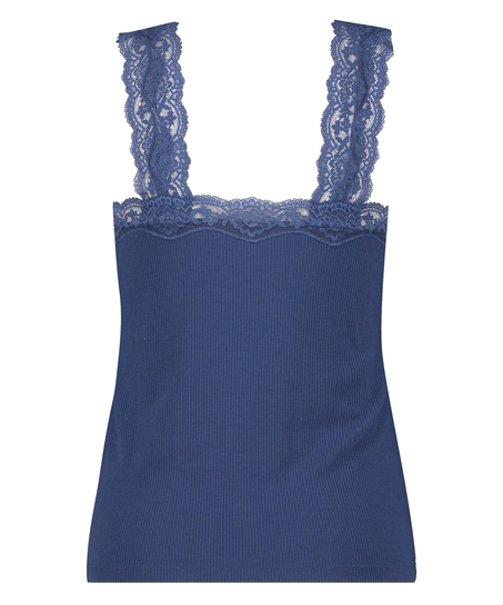 Ribbed Lace Singlet, Blue