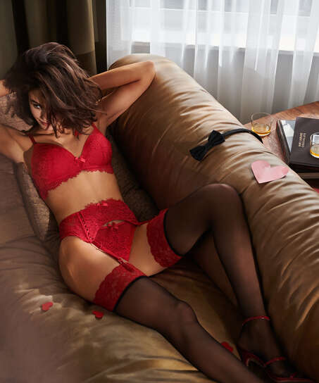 Stocking 15 Denier Fancy Lace Top Red, Red