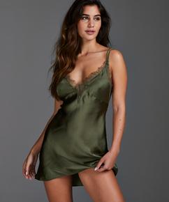 Satin Lily slip dress, Green