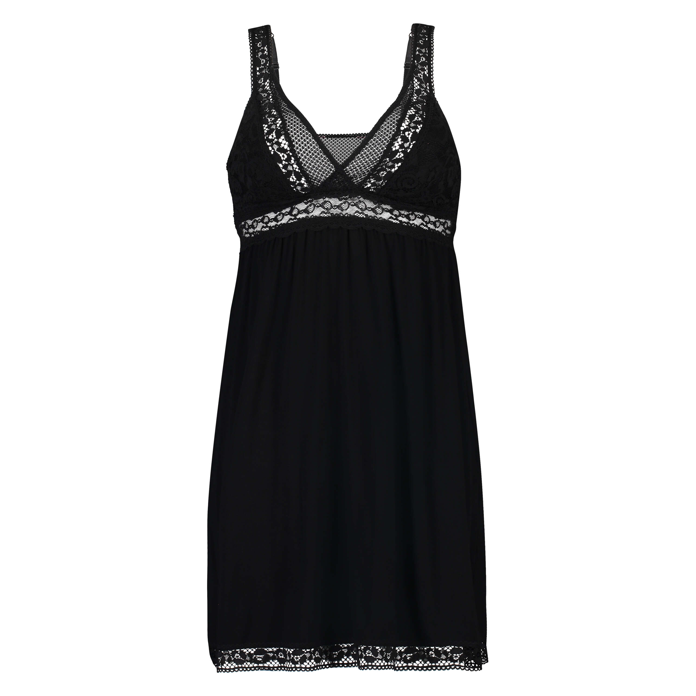 Graphic Lace slipdress, Black, main