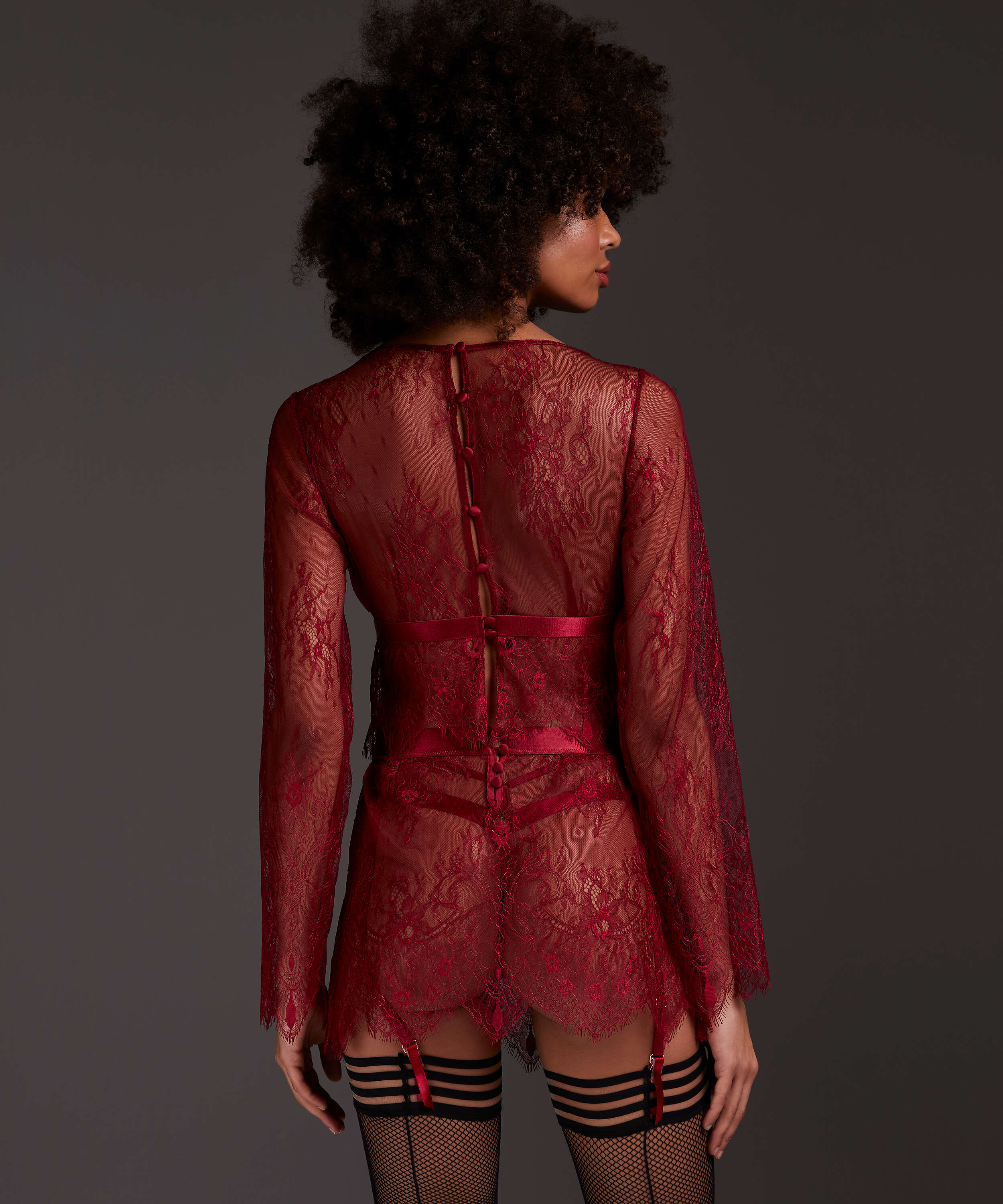 Lace Skirt, Red, main