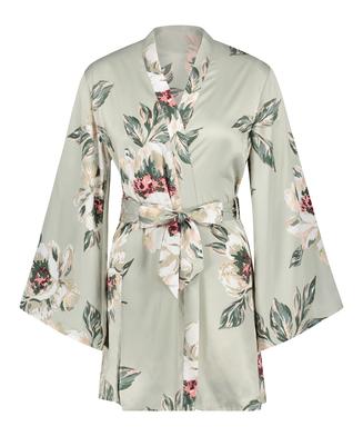 Satin Print Kimono, Blue