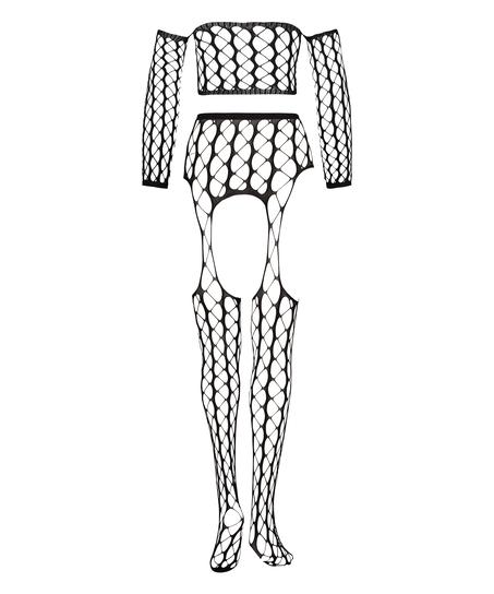 Graphic Private Fishnet Set, Black