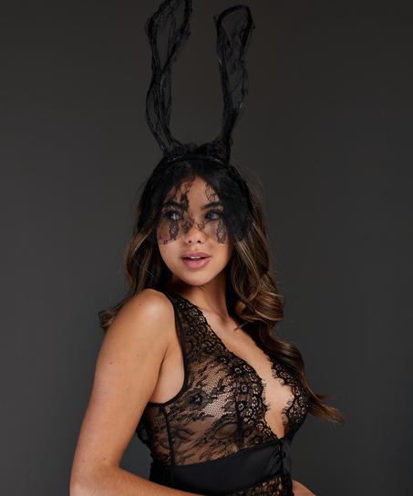Private Lace Bunny Mask, Black