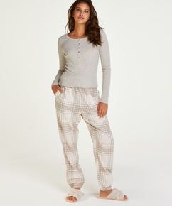 Long-Sleeved Pyjama Top , Beige