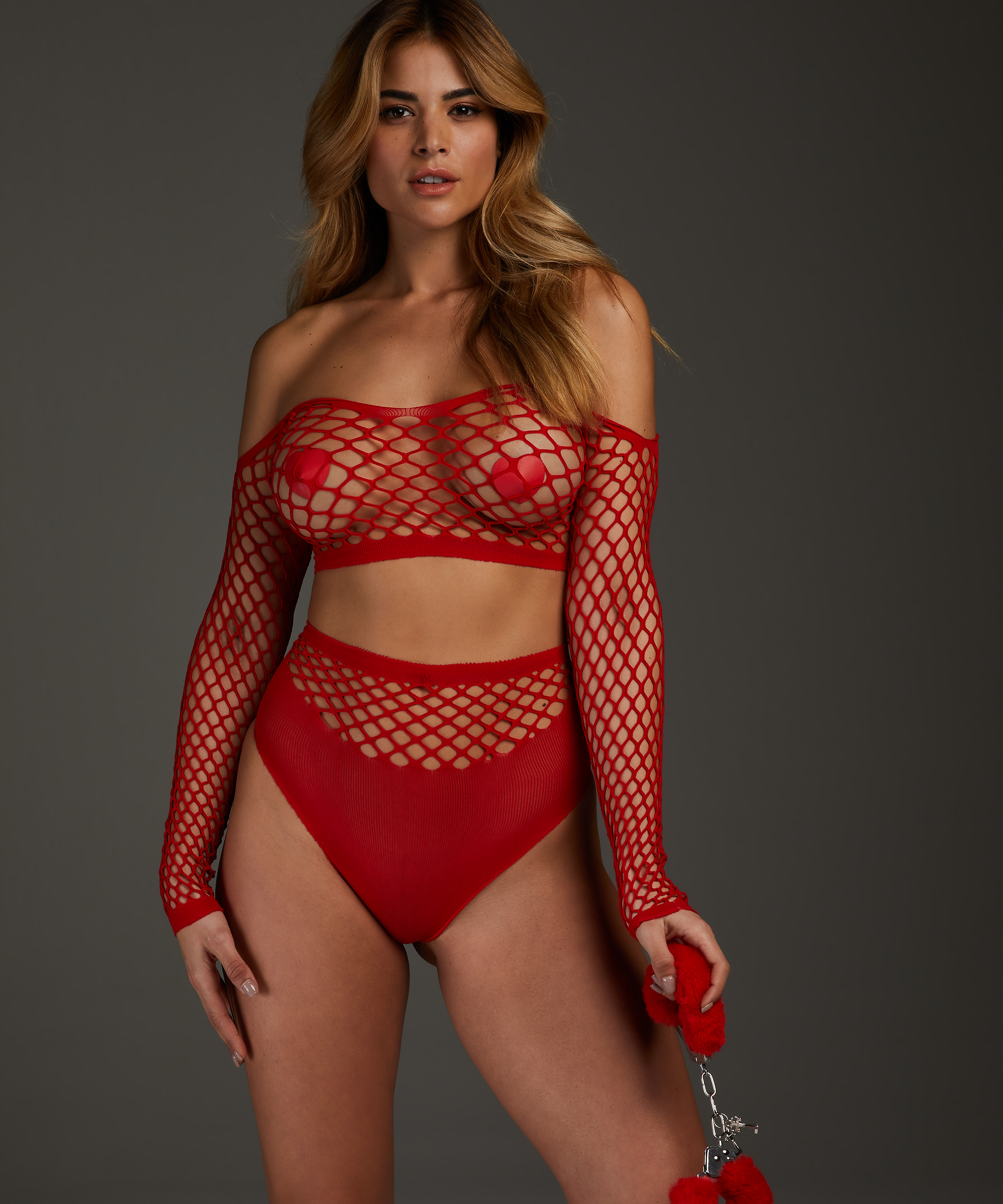 Private Fishnet Set, Red, main