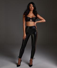 Lace-up leggings, Black