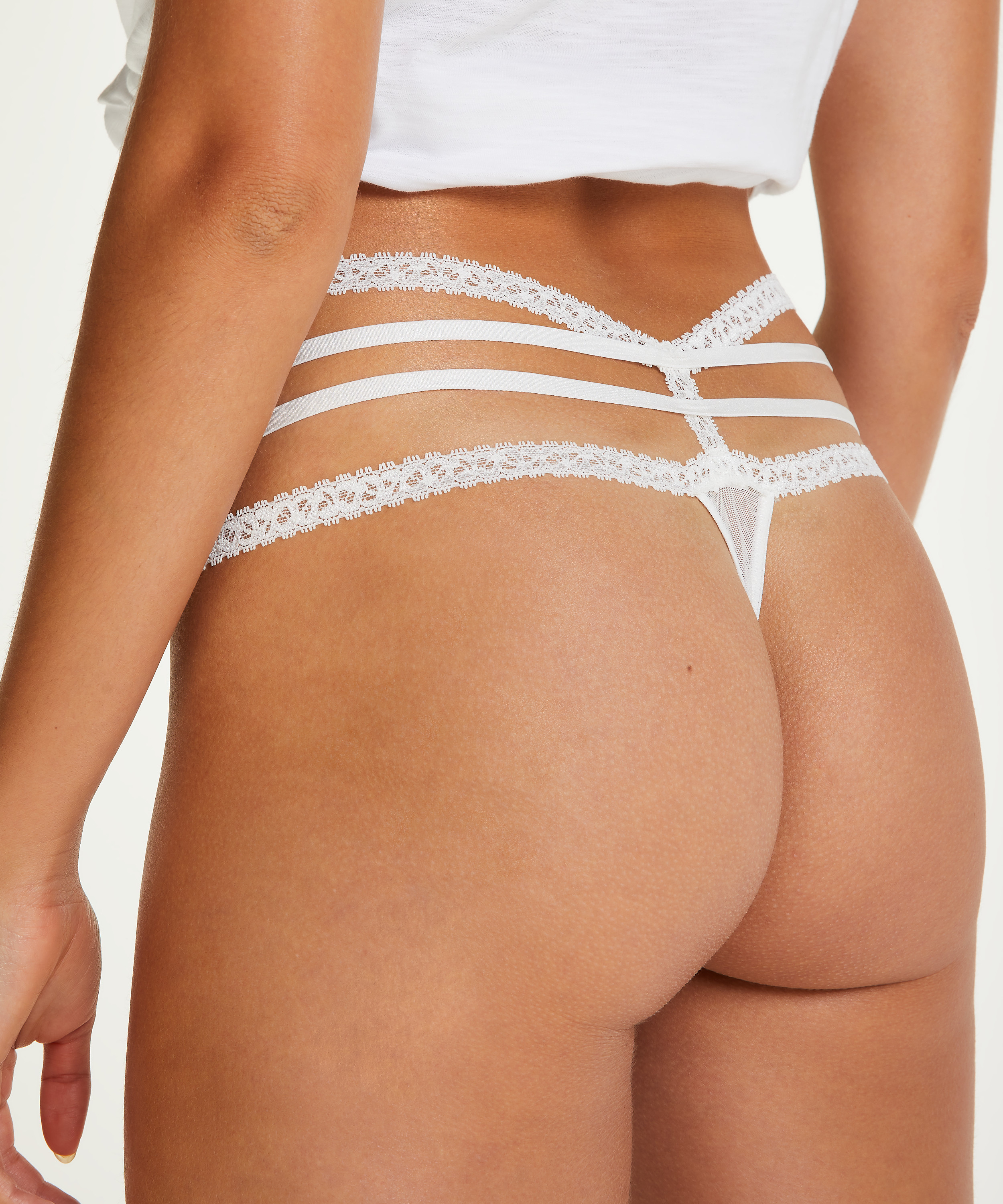 Lorraine Extra Low-rise Thong, White, main
