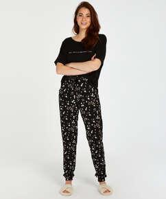 Tall Ditzy Floral pyjama bottoms, Black