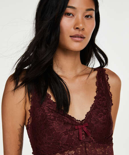 Long slip dress Modal lace, Red