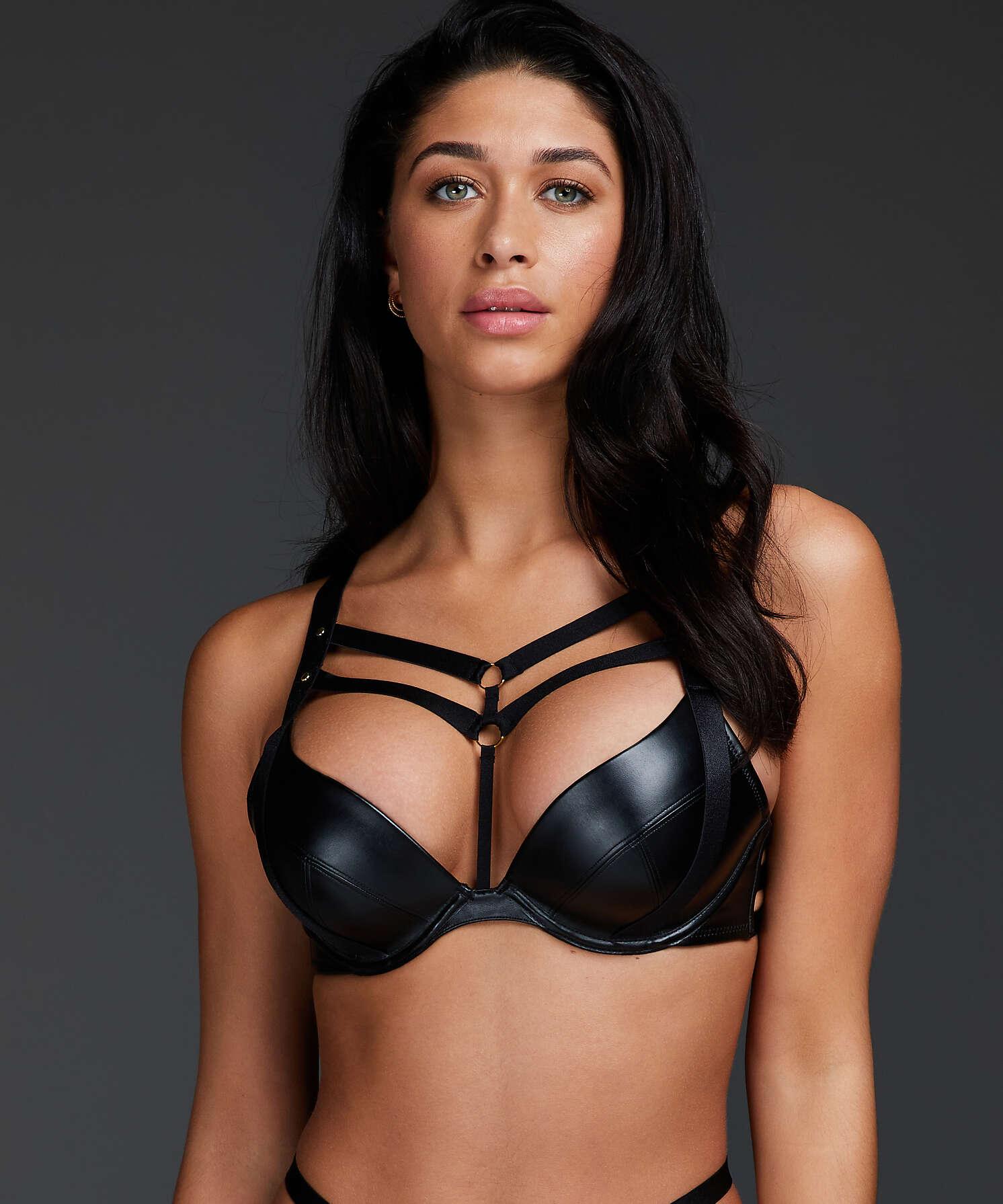 Shadow padded push-up underwired bra, Black, main