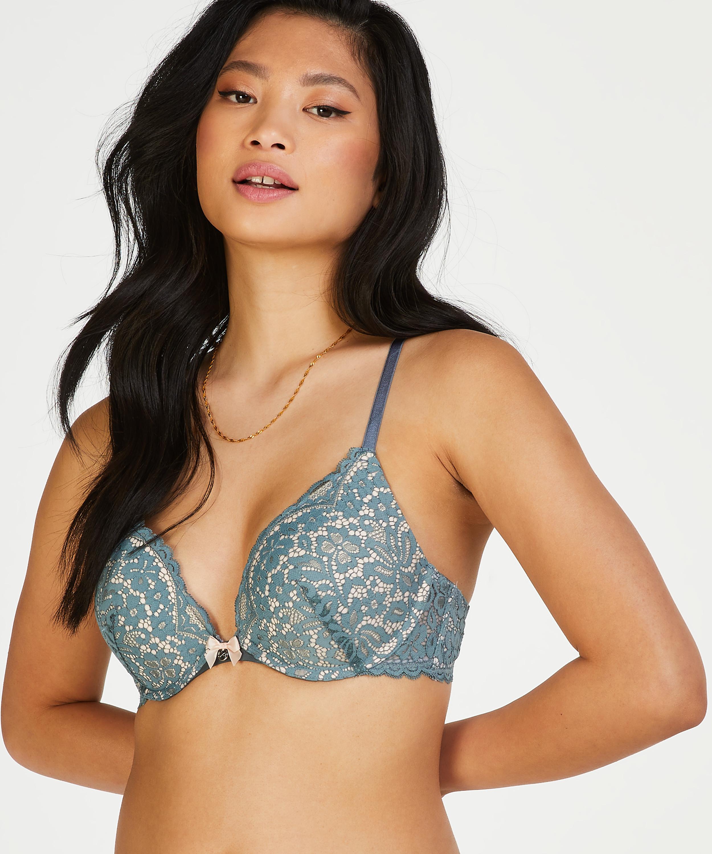 Rose padded push-up bra, Green, main