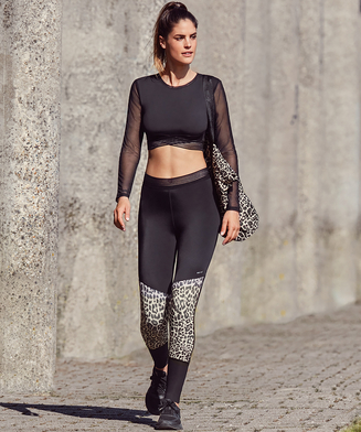 HKMX Leopard High waisted sports leggings, Grey