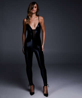 Mesh lace-up catsuit, Black