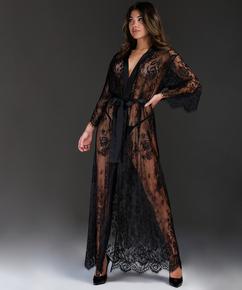 Long Allover Lace Kimono , Black