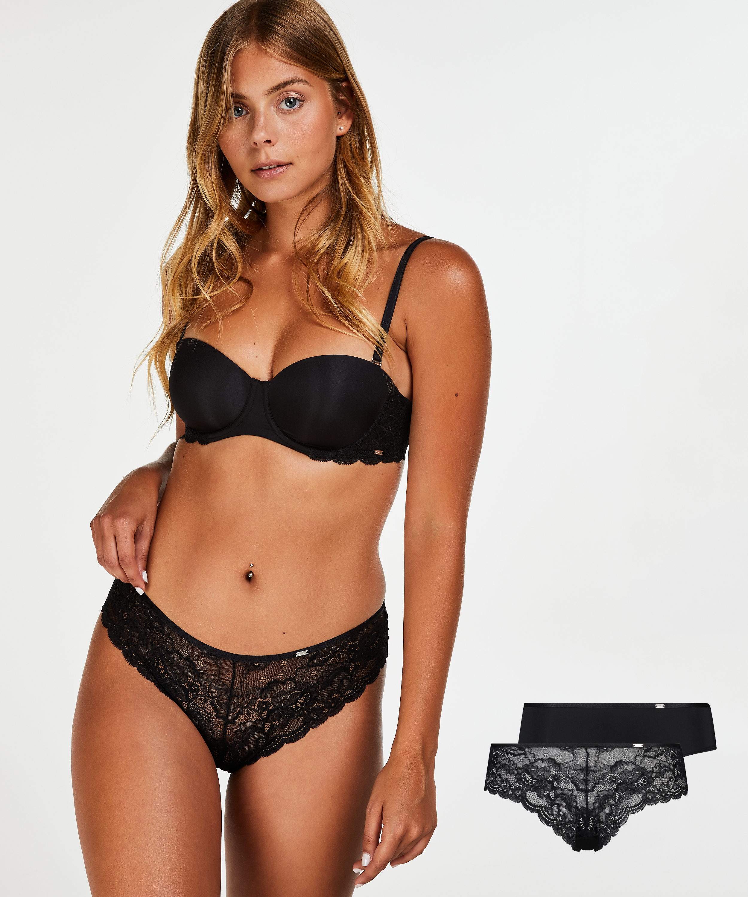 2-pack of Angie Brazilian knickers, Black, main