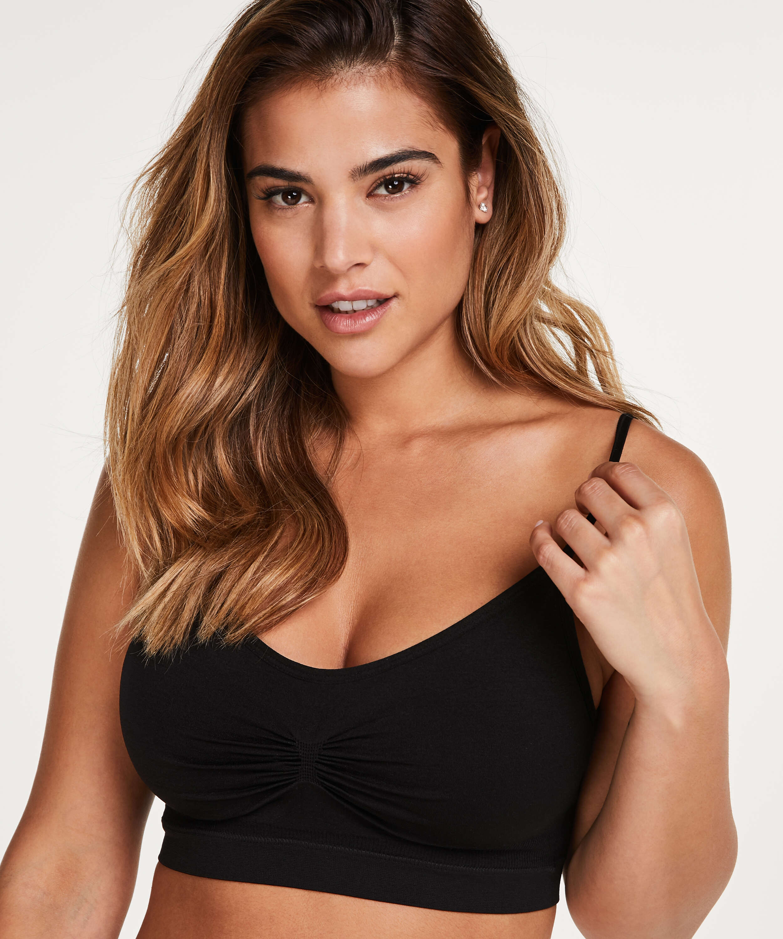 Seamless strappy top, Black, main