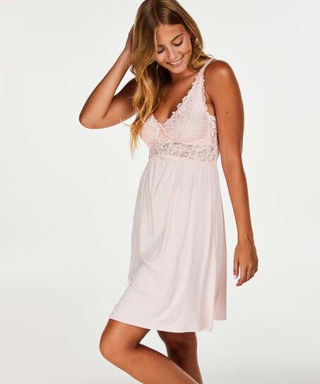 Modal Lace Slip Dress, Pink