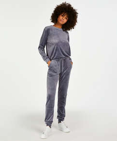 Velvet Lurex jogging bottoms, Grey