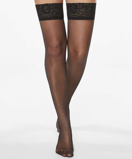 Stay-up 15 Denier Lace Anti Ladder, Black