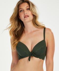 Scallop Glam padded underwired bikini top, Green