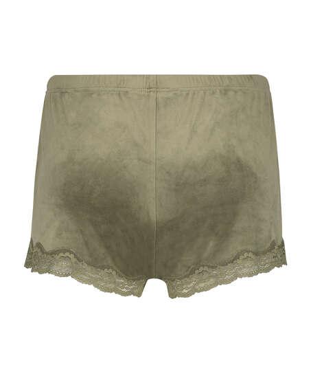 Velvet lace shorts, Green