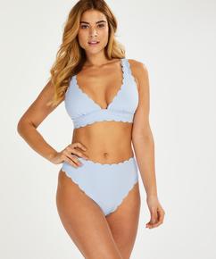 Scallop triangle bikini top, Blue
