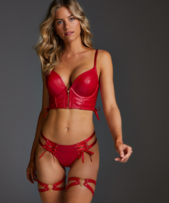 Heart Private Hold Up Suspenders, Red