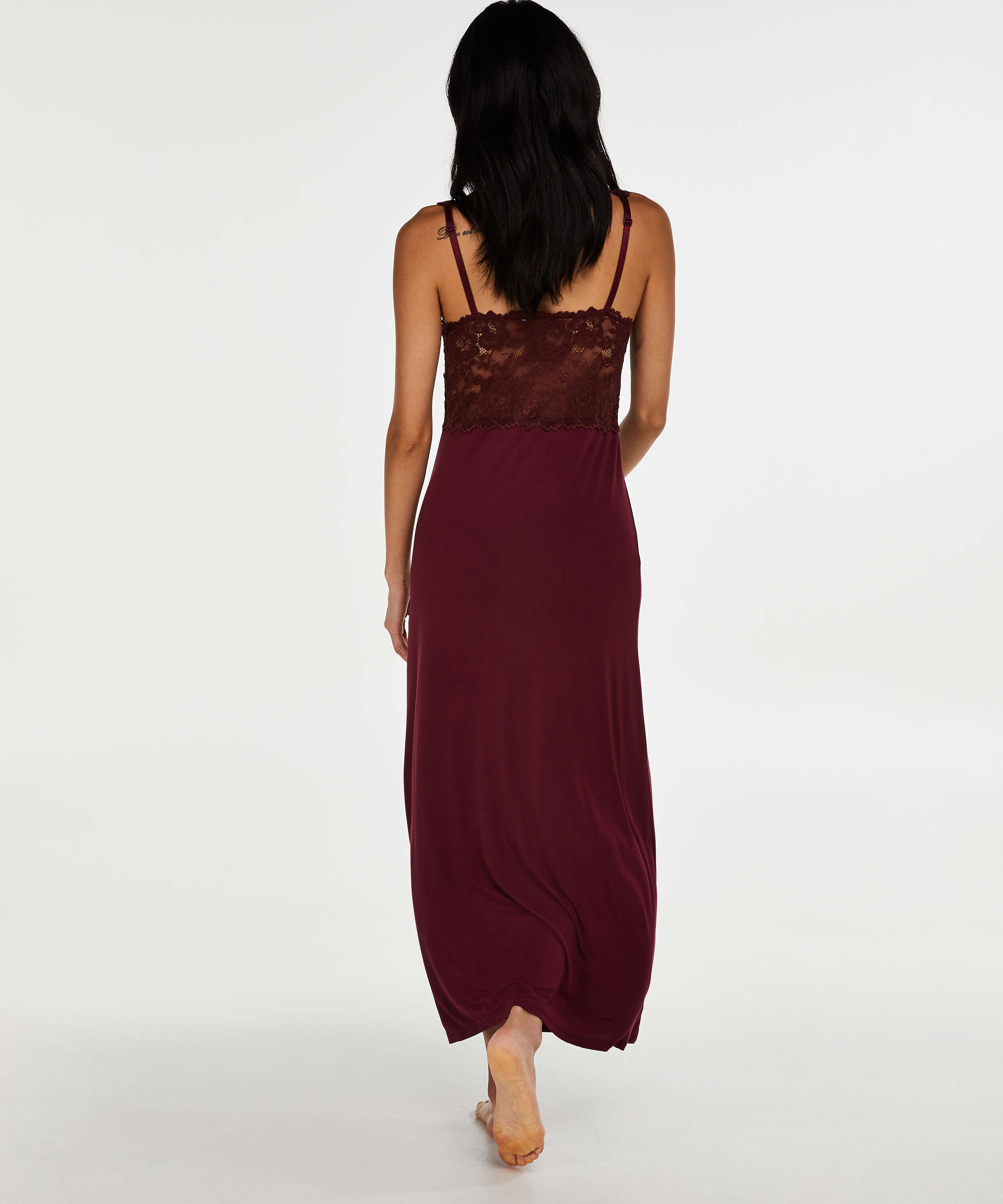 Long slip dress Modal lace, Red, main