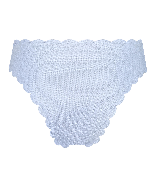 High-cut Scallop bikini bottoms, Blue, main