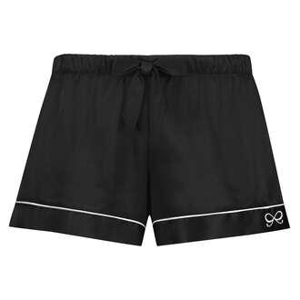 Satin Lace Pyjama Shorts, Black