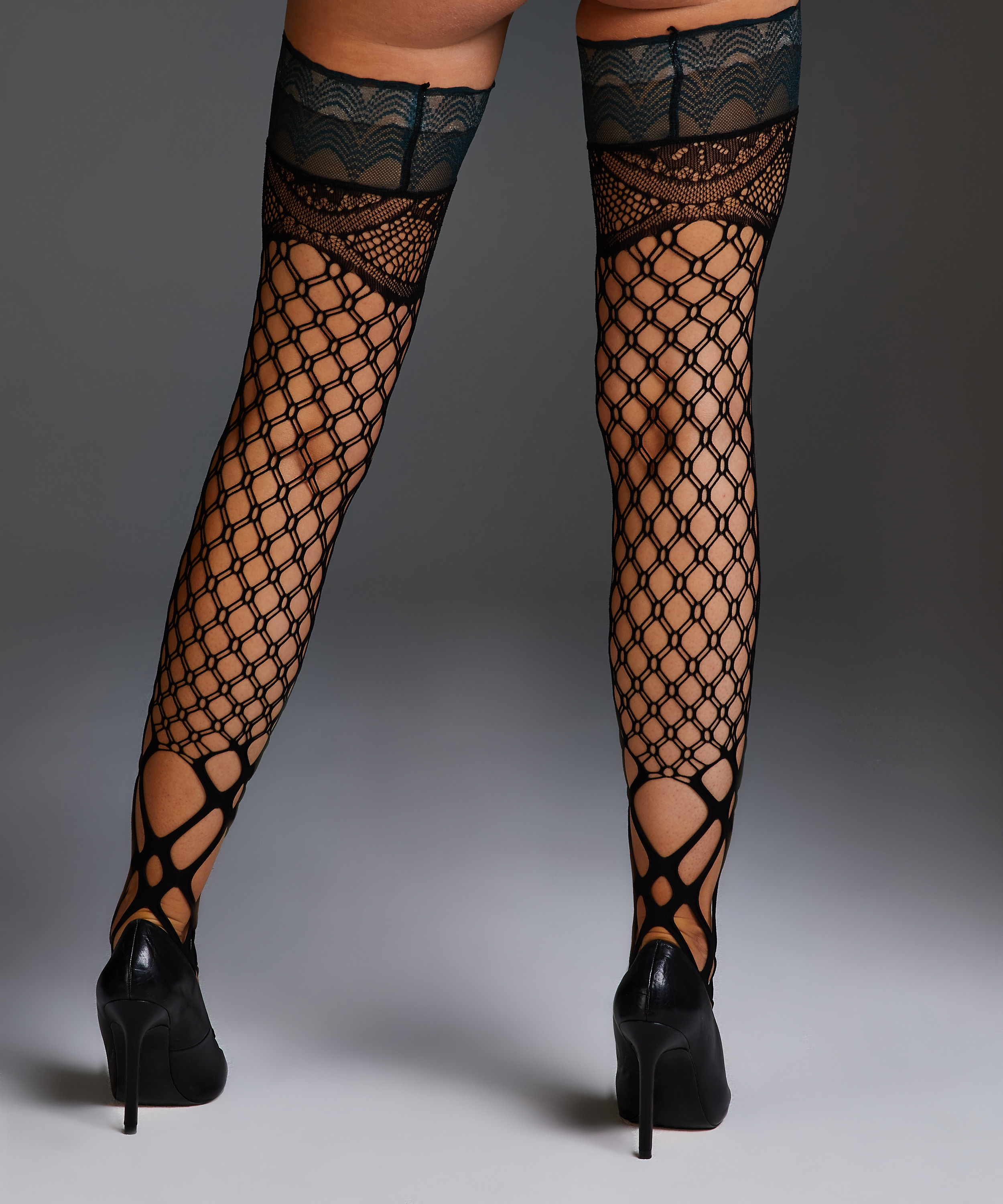 Private Fishnet hold-ups Mix, Green, main