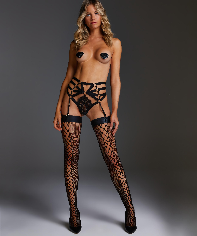 Stockings Private fishnet, Black, main