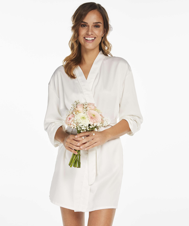 Satin Kimono Bridal, White, main