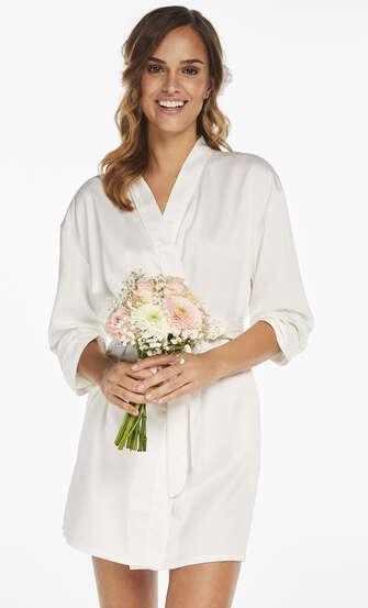 Satin Kimono Bridal, White