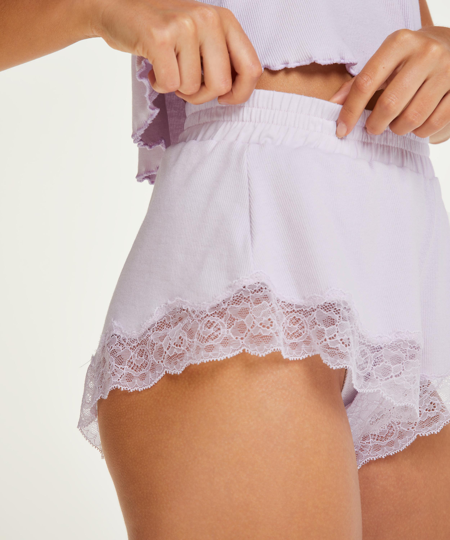 Shorts rib lace Mia, Purple, main