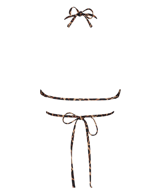 Animal Wrap padded triangle bikini top HKM x NA-KD, Brown, main