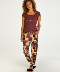 Tall Jersey Abstract Leaf Pyjama Bottoms, Pink