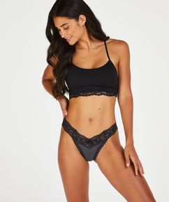 Cotton extra low thong, Grey