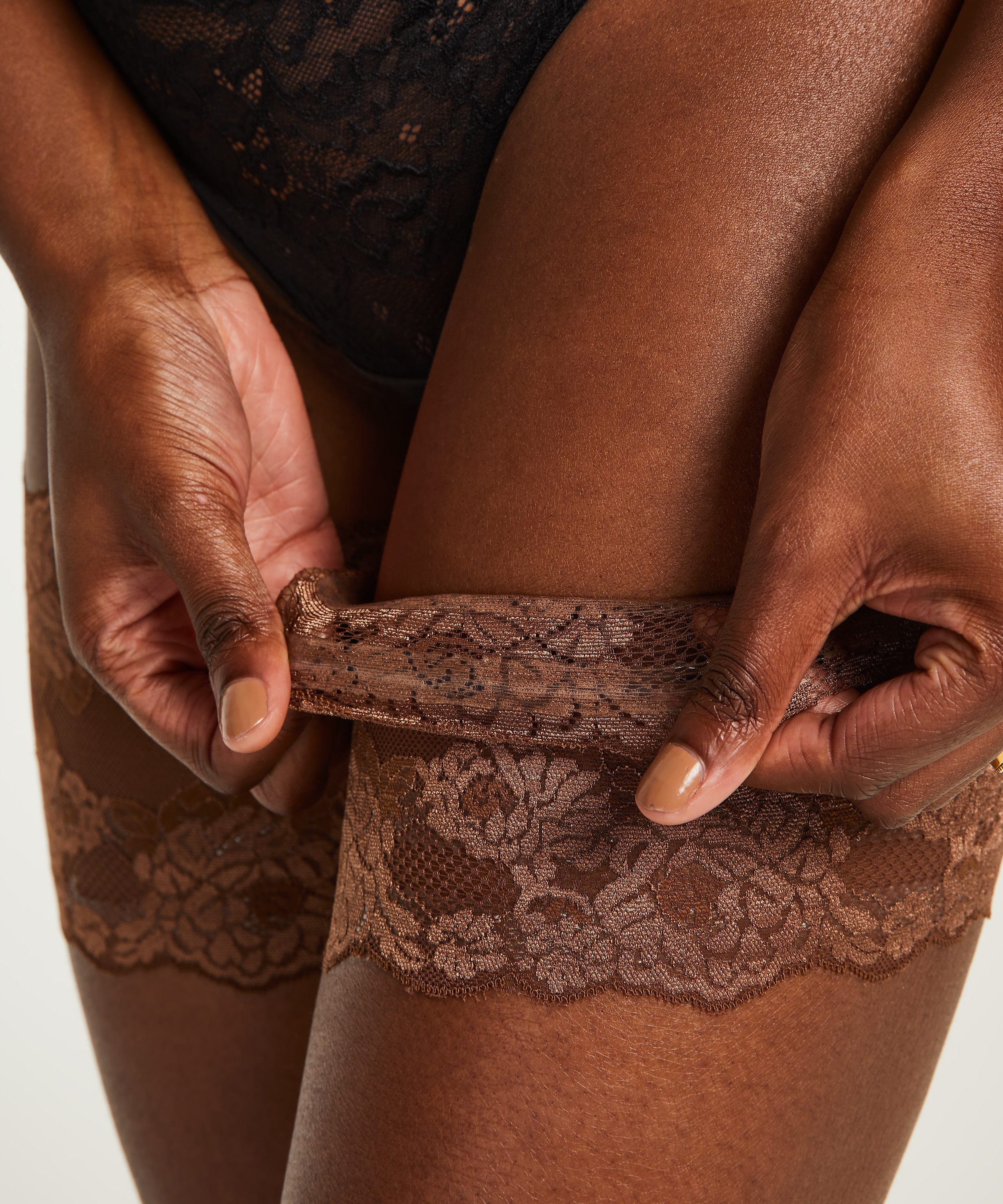 Lace thigh bands, Brown, main
