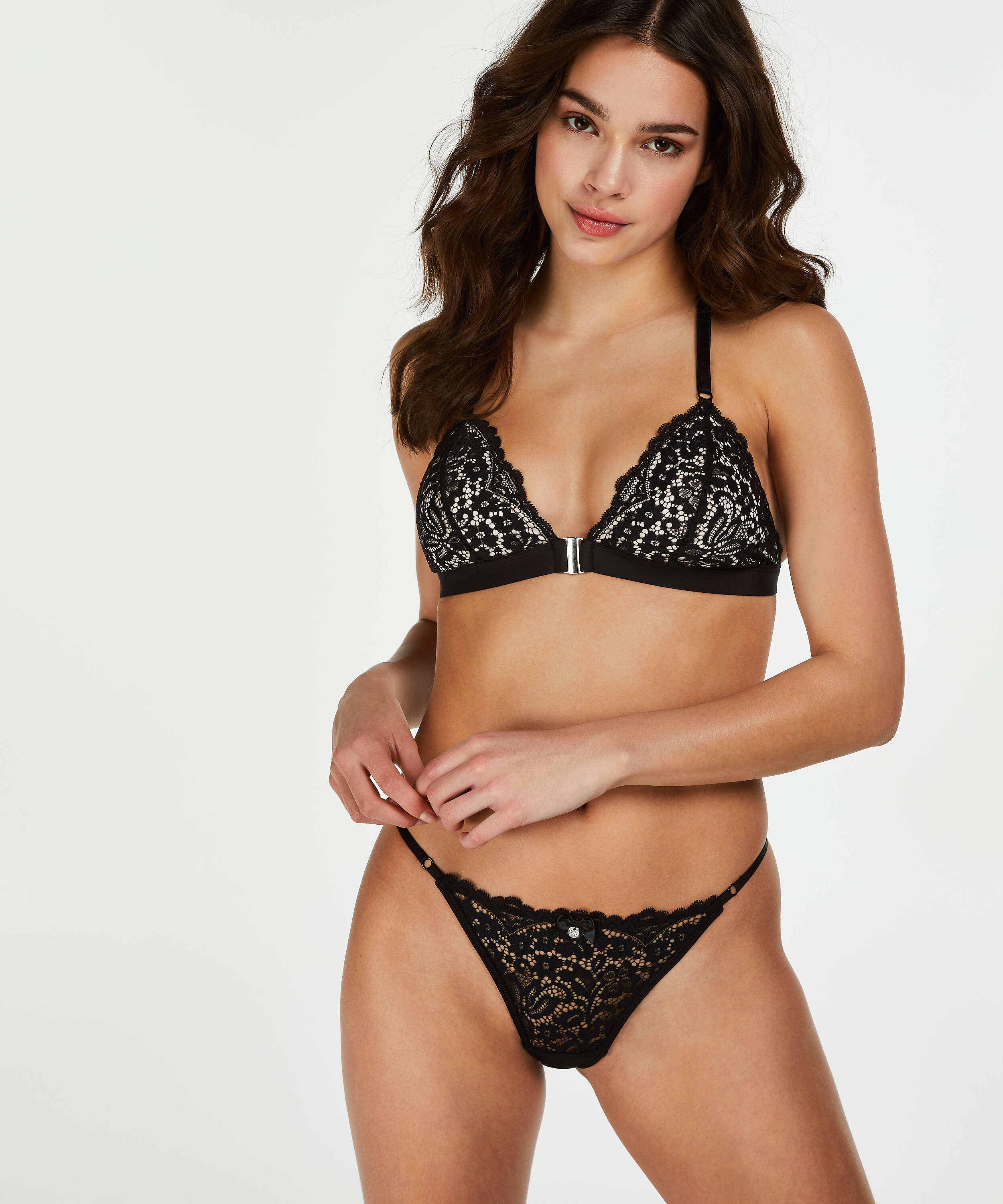 Rose Padded Triangle Bralette, Black, main