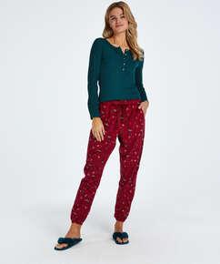 Twill Pyjama Pants, Red